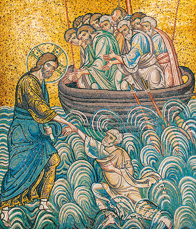 Jesus saving Peter from the waters, twelfth-century mosaic, Cathedral of Monreale (Palermo) [© Enzo Lo Verso]