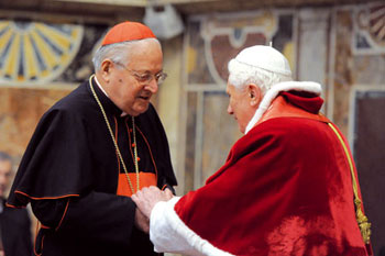 Benedict XVI with Cardinal Sodano, 20 December 2010. Cardinal Sodano, fifty years in the service of the Holy See, was Secretary of State from 29 June 1991 until 2 April 2005, with John Paul II, and from 21 April 2005 until 15 September 2006 with the present Pontiff [© Osservatore Romano]