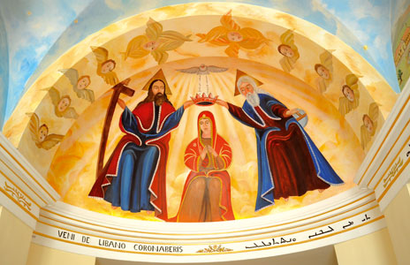 The fresco in the atrium of the Maronite College depicting the Coronation of the Virgin Mary, inspired by the depiction in the sanctuary of Qannoubine