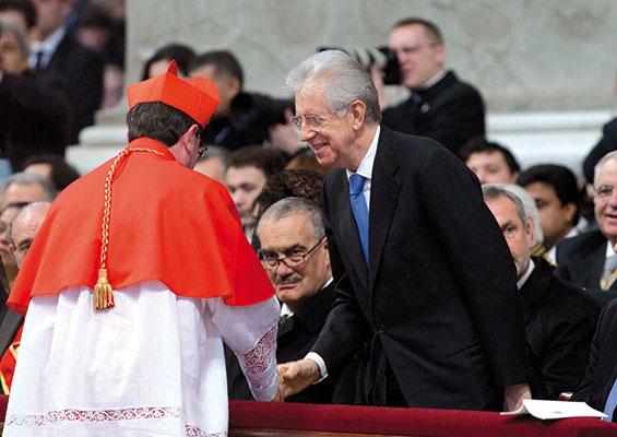 Il presidente del Consiglio dei ministri italiano Mario Monti con il cardinale Giuseppe Betori, 18 febbraio 2012 [© Flavio Ianniello/Agenzia Aldo Liverani Sas]