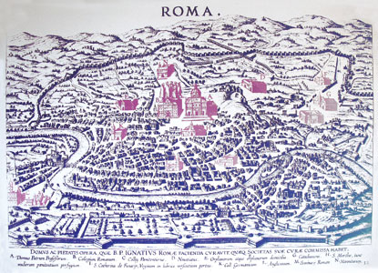 L'antica mappa, conservata nell'atrio della Curia generalizia dei Gesuiti, nella quale compaiono i primi cinque Collegi nazionali, tra cui il Maronita, edificati tutti nei pressi del Collegio Romano (l'Università Gregoriana di allora) nel corso del XVI secolo