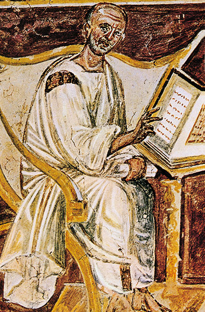 A 6th century fresco with St Augustine, Lateran, Rome