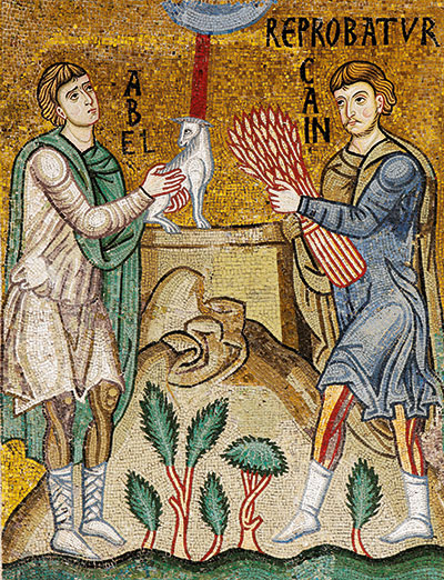 The offering of Abel and Cain, 12th century mosaic, Palatine Chapel, Palermo [© Franco Cosimo Panini Editore]