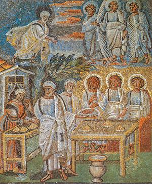 L'apparizione del Signore ad Abramo, formella della navata centrale, Basilica di Santa Maria Maggiore a Roma