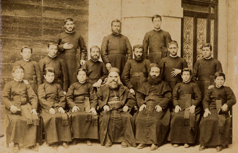 The Procurator Monsignor Elias Boutros Hoyek, the future Patriarch of Antioch of the Maronites, in the center of the photo in the front row, and the Rector of the College, Father Gabriel Moubarak, third from the right in the front row, with students of the College, the photo dates from 1893 [© Pontifical Maronite College]