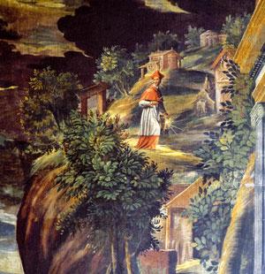 <I>Der hl. Karl bereitet sich auf dem Heiligen Berg von Varallo auf den Tod vor</I>, Detail, Giovanni Battista della Rovere, genannt der Flame, Mailänder Dom.