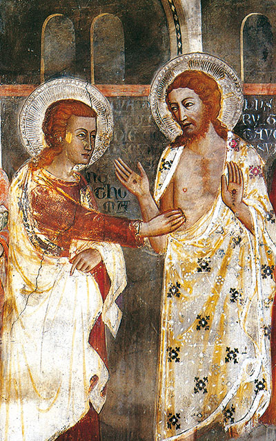 The Risen Jesus and the apostle Thomas, detail, fresco from the 14th century, Upper Church of Sacro Speco, Subiaco (Rome)