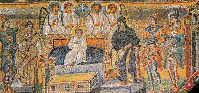 L'adorazione dei Magi, mosaico dell'arco trionfale, Basilica di Santa Maria Maggiore a Roma
