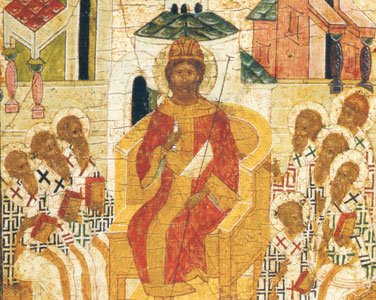 Christ on the throne presiding over the Council of Nicaea