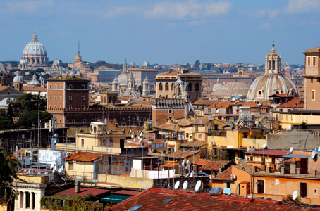 A panorama of the roofs and domes of Rome from the terrace of the monastery of St Antony Abbot, on the Colle Oppio [© Paolo Galosi]