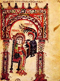 <I>The Annunciation</I>, Mozarabic miniature, <I>Tratado de San Ildefonso</I> acerca de la virginidad de Maria, fol. 66