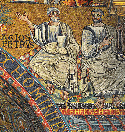 Saints Peter and Clement, detail of the twelfth century mosaic in the apse of the basilica of San Clemente in Rome