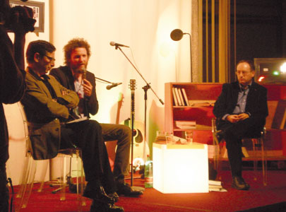 Father Antonio Spadaro, on the right in the picture, with Jovanotti at the seminar held in the Chapel of the Sapienza, the University of Rome, January 2010