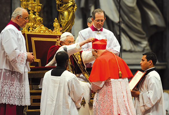 Fernando Filoni receives the cardinal's hat from Pope Benedict XVI in the Consistory of 18 February 2012 <BR>[© Paolo Galosi]