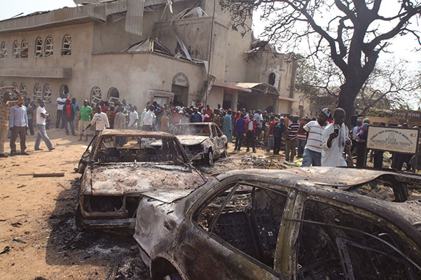 The church of Saint Theresa, in Madalla (near Abuja, the capital of Nigeria), where a car bomb explosion killed twenty-five people during Christmas Mass, on 25 December 2011. The Boko Haram fundamentalist group claimed responsibility for the attack [© Associated Press/LaPresse]