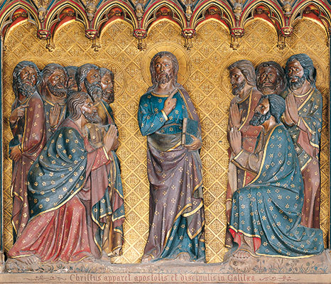 <I>The risen Jesus and the apostles in Galilee</I>, 14th century polychrome sculpture, in the choir of Notre-Dame Cathedral, Paris