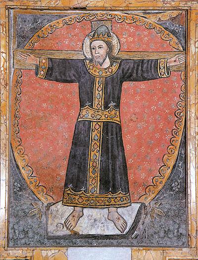 Crocifisso affrescato, Basilica dei Santi Cosma e Damiano, a Roma