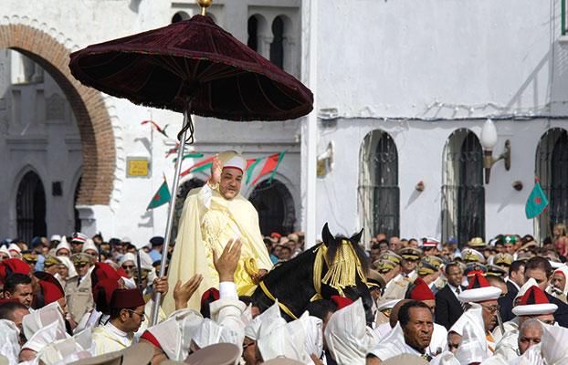 Mohammed VI, re del Marocco, durante una cerimonia per il dodicesimo anniversario della sua ascesa al trono, a Tetouan, vicino a Tangeri, il 31 luglio 2011 [© Associated Press/LaPresse]