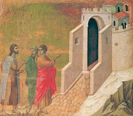 Gesù risorto con i due discepoli di Emmaus, Duccio di Buoninsegna, Museo dell'Opera del Duomo, Siena