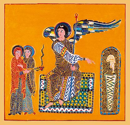 Marie-Madeleine et l'autre Marie près du Sépulcre