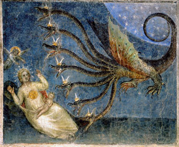 The woman clothed with the sun and the dragon who attempts to devour her child, one of the scenes from the <I>Book of Revelation</I> in a fresco of Giusto de' Menabuoi in the apse of the Baptistry of Padua
