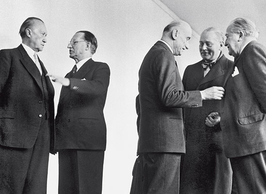 Alcide De Gasperi with Konrad Adenauer, Robert Schuman and the Foreign Ministers of the Netherlands and Luxembourg during a session of the Council of Europe in Strasbourg in 1951