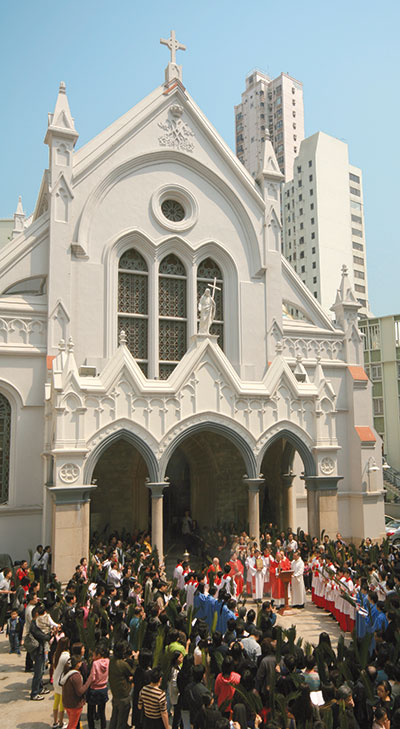 John Tong Hon during the Palm Sunday procession of 2010 in front of the Cathedral of the Immaculate Conception of Hong Kong