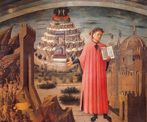 &lt;I&gt;Dante Alighieri et les royaumes dOutre-tombe&lt;/I&gt;, Domenico di Michelino, Sainte-Marie-des-Fleurs, Florence