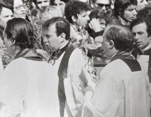 Don Giacomo Tantardini and Don Giussani in St Peter's Square, Palm Sunday, 23 March 1975, Holy Year