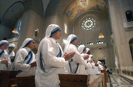 Missionary Sisters of Charity of Mothe Teresa of Calcutta in the Basilica of the Immaculate Conception in Washington <BR>[© Associated Press/LaPresse]