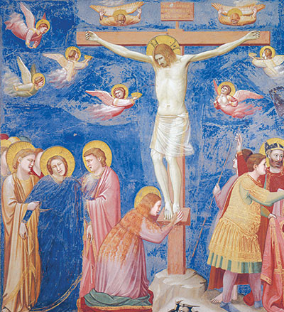 Mary and John at the foot of the Cross, detail of the <I>Crucifixion</I>, Giotto, the Scrovegni Chapel, Padua