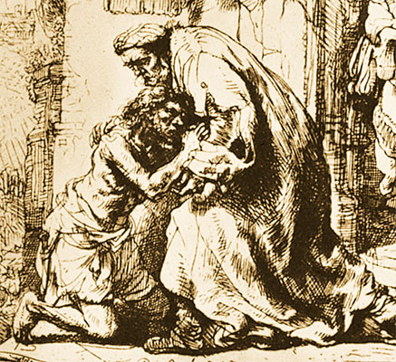 <I>The Return of the Prodigal Son</I>, Rembrandt, etching, Pierpont Morgan Library, New York