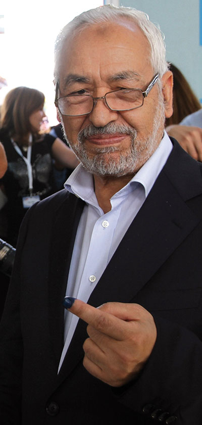 Rachid Ghannouchi, leader del partito islamico Ennahda <BR>[© Associated Press/LaPresse]