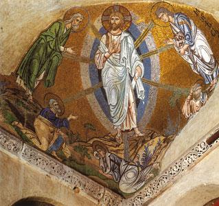 La Trasfigurazione, mosaico della prima metà dell'XI secolo del monastero di Hosios Loukas, Daphni, Grecia