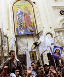The protest demonstration of the Orthodox Coptic community of Alexandria, on 1January 2011 [© Afp/Getty Images]