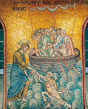 Jesus saves Peter from the waters, mosaic of the Cathedral of Monreale, Palermo [© Enzo LoVerso]