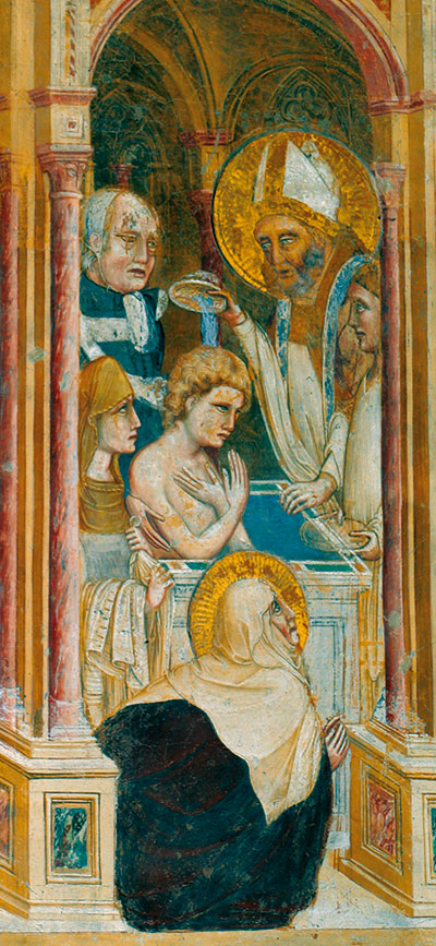 The baptism of St Augustine in a fourteenth-century fresco preserved in the Church of the Hermits in Padua