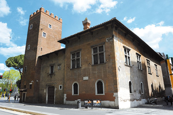 In the fifteenth century Anguillara Palace, in Rome, the historical seat of the House of Dante