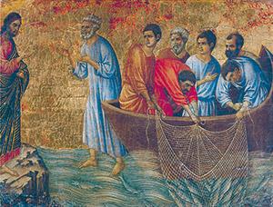 <I>La Maestà</I>, Duccio di Buoninsegna, Museo dell'Opera del Duomo, Siena; Gesù risorto appare agli apostoli sul lago di Tiberiade