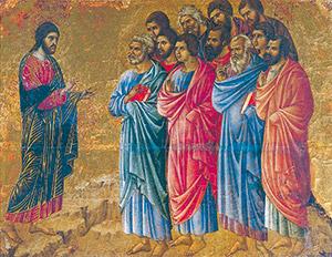 <I>La Maestà</I>, Duccio di Buoninsegna, Museo dell'Opera del Duomo, Siena, Gesù risorto appare agli apostoli sul monte di Galilea